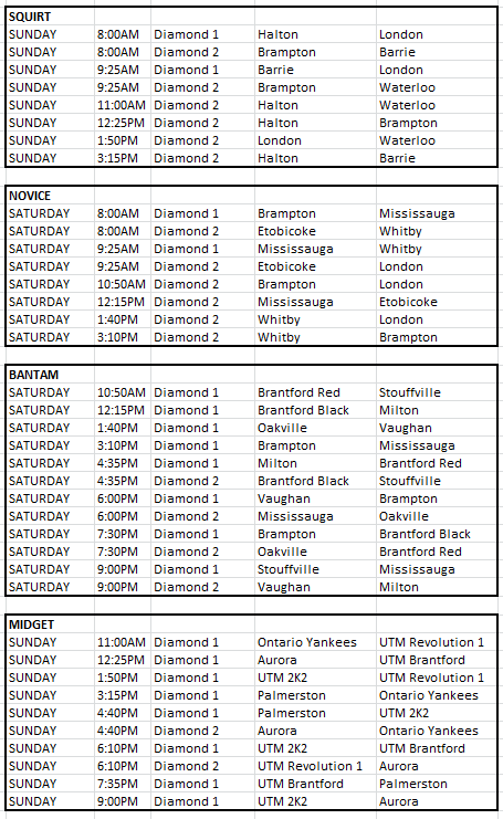 UTM schedule